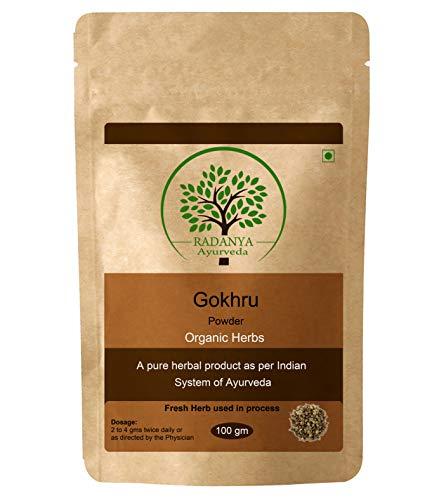 RADANYA Ayurveda Gokhrupulver 100 Gramm - Indisches Reines Natürliches Wesentliches Organisches Kräuterergänzungspulver - Packung Mit 1 - Wesentlich Natürlicher