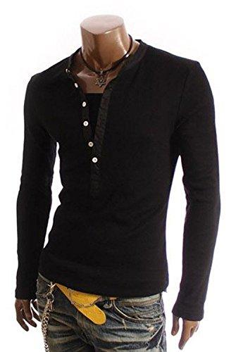 Minetom Uomini T-Shirt 2 in 1 con scollo a V Maglietta Slim Fit Manica Lunga ( Nero IT 50 )