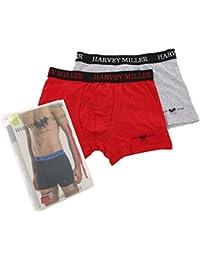 6bb517e51 HARVEY MILLER POLO CLUB 2er Pack Unterhose Unterwäsche Herren Boxershorts  Boxer Rot/Grau