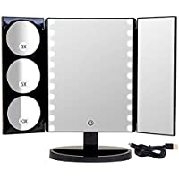 Mirrorvana XLarge Hollywood Style Trifold LED Lighted Makeup Mirror (2017 X-Large Model)   Adjustable Cosmetic Vanity Mirror w/Brilliant 1x, 3x, 5x & 10x Magnification