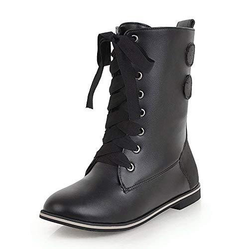 Watopi Damen Retro Combat Boots Ritterstiefel Mittelrohr Stiefel Schnalle Stiefeletten Schnürstiefel Schuhe
