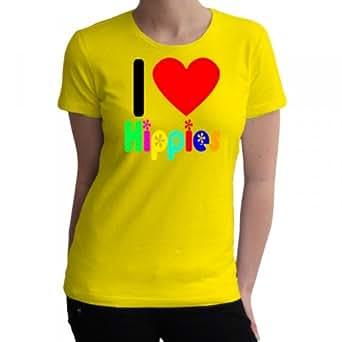 I love Hippies bunt Fun Damen T-Shirt, Größe:S;Farbe:gelb