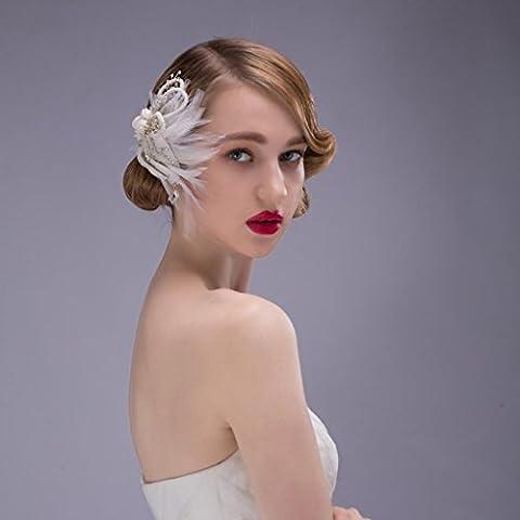 ZYQYJGF Piuma Di Headwear Pettine A Mano Cocktail Party Di Matrimonio Nuziale Perle Strass White