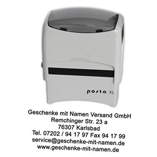 Stempel Posta Modell XL mit Ihrem Wunschtext, für bis zu 6 Zeilen Text, für zigtausend Abdrücke