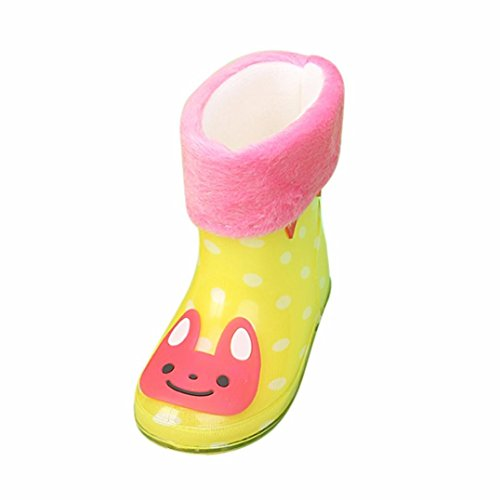 4 Kinder Regen Stiefel Größe (RegenSchuhe Stiefel Jamicy® Wasserdichte Kind Tier Gummi Infant Baby Regen Stiefel Kinder Warme Regen Schuhe Schnalle Cartoon (Gelb, EU:23))