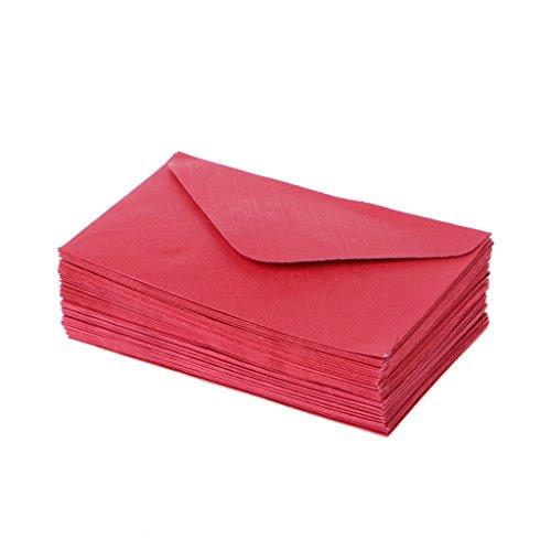 Mentin 50 Briefumschläge, Retro-Design, Papier, bunt, für Hochzeit, Party, Einladung, Grußkarten, Geschenk 10x6cm rot