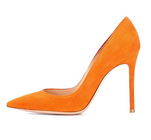 EDEFS Klassische Damen Pumps | Moderne Damen High Heels | Stiletto Schuhe | Damen Geschlossene Pumps Orange Größe EU39 Orange Stiletto