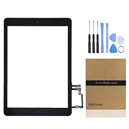 5-screen-ersatz Ipad (Hedywei Ersatz Digitizer Touchscreen für iPad Air Ipad 5 Frontscheibe Anzeige mit Home Button / Klebeband und Werkzeuge schwarzer)