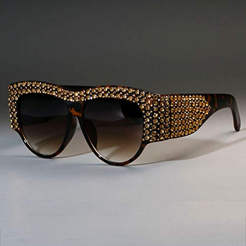TIANKON Quadratische Sonnenbrille Frauen übergroßen Strass Rahmen Bling Brille Mode weiblichen Farben,C5 Leopardenteed