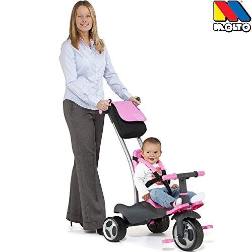 Dreirad 5 in 1 mit abnehmbarer Doppel Schiebestange, Gurt , Mitwachsendes Kinderfahrzeug mit geländegängigen Reifen für jeden Ausflug mit den Kleinen, Pedal Freilauf, mit Lenkblockierung, ab 10 Monate
