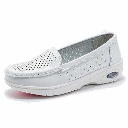 Moonwalker Zapatos Sanitarios Confort Mujer Sin Cordones EN Cuero EUR 38,Blanco1
