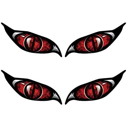 Anladia 2 Stück Auto Aufkleber Auto Sticker Motorrad Augenspiegel Rot