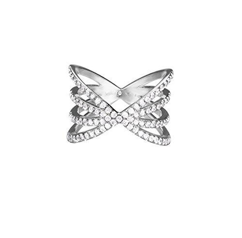 ESPRIT Damen-Ring JW52892 925 Silber rhodiniert Glas transparent ESRG92679A1