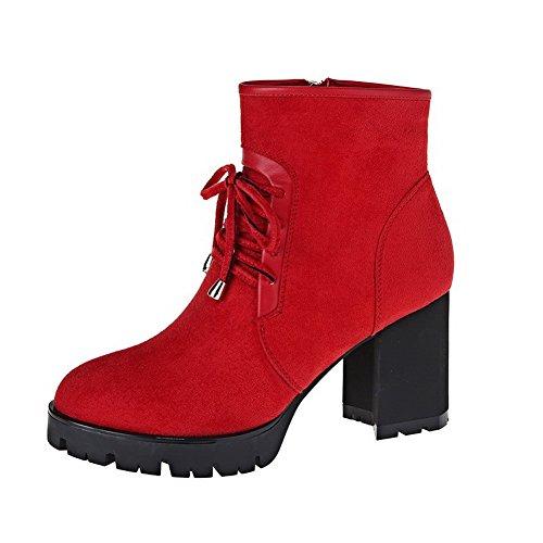 AllhqFashion Damen Rund Zehe Hoher Absatz Mattglasbirne Niedrig-Spitze Rein Stiefel Rot