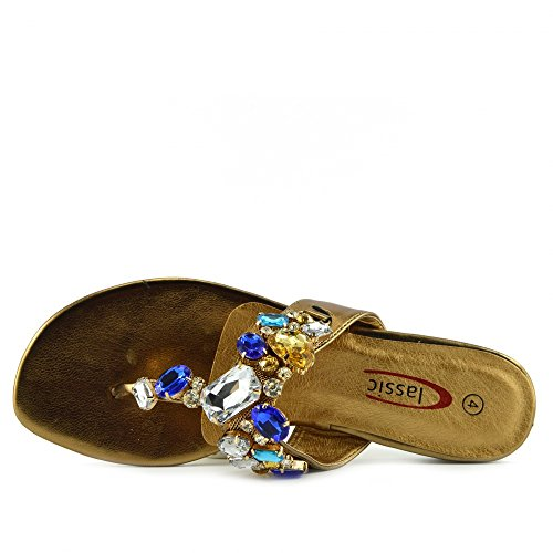 Kick Footwear - Donna Diamante Beach Sandali Estivi gioiello partito sandalo Bronzo