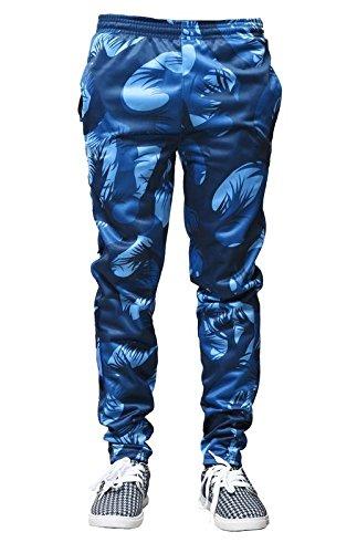 ADH Men's Poly Cotton Smart Fit Track Pant (Blue,L)