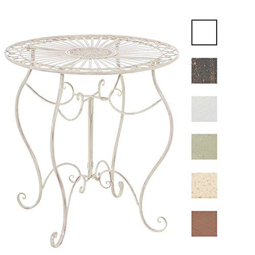 Antike Reproduktion Möbel (CLP Eisen-Tisch INDRA, rund Ø 70 cm, Höhe 72 cm, Nostalgie Design Gartentisch Metall Antik Creme)