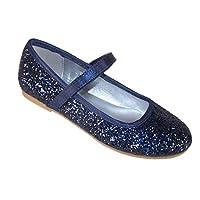 Girls Children Sparkly Dark Blue Glitter Ballerina Party Special Occasion Shoes Size 6
