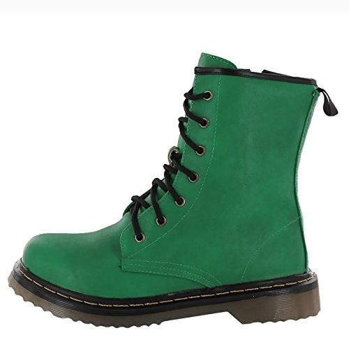 Kick Footwear - Ladies ankle retro combat boot womens lace funky vintage goth ankle boot Verde