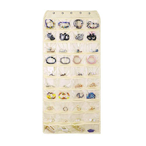 Emibele Jewelry Organizer, Double-Sided, 80 Pockets Hanging Organizer for Ring Earrings Necklace Bracelet Accessory Storage Jewelry Display Bag - Beige -