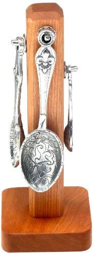 Crosby & Taylor Fleur de Lys Pewter Measuring Spoon Set on Cherry Wood Display Post