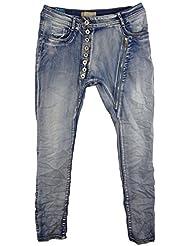 Damen Jeans Boyfriend in Used-Look und Baggy mit langer Knopfleiste und Deko-RV aus Denim/Stretch-Mix