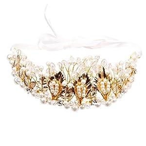 ultnice Glas Braut Brautjungfer Golden lässt Krone Kopfband Tiara Rinestone für Hochzeit Tanz