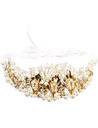 ULTNICE Cristal de novia dama de honor Golden deja corona diadema Tiara Rinestone para boda baile