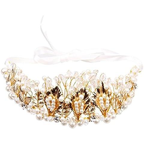 Pixnor Imitación perla oro hojas de cristal Strass corona Tiara diadema de flores para baile de novia dama de honor de la boda