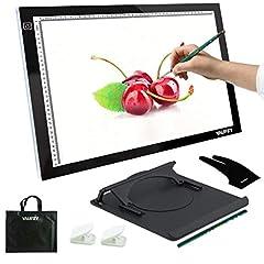 Idea Regalo - Yaufey A3 Tavoletta luminosa Ultra Sottile LED Regolabile Pad Portatile Segnalazione Light Box per gli Artisti di Disegno Radiografie Display Disegno Animazione, 3 Livelli di Luminosità