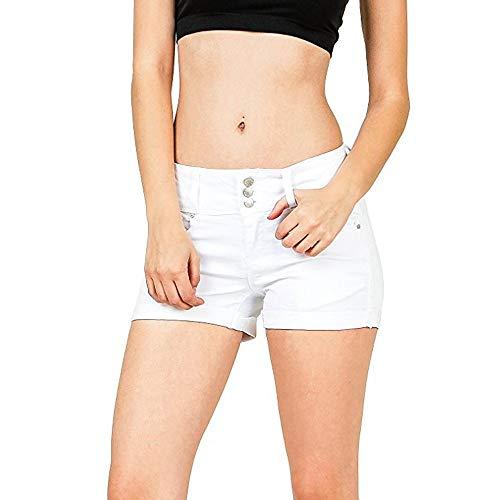 MOIKA Hotpants Short Damen Weiß, Frauen Niedrig Taillierte Gewaschene Feste Kurze Mini Jeans Denim Hosen Skinny Straight Leg Bermuda Einfarbig Shorts Schwarz - Ultra-low-rise-skinny Leg-jeans
