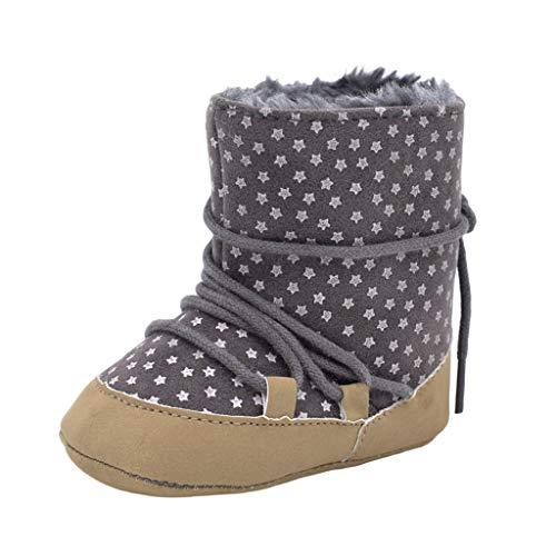 TeasyDay Kleinkind Schuhe MäDchen, Baby-Reißverschlussstiefel mit Sternen, Kinder Winter warme Schuhe mit Fell