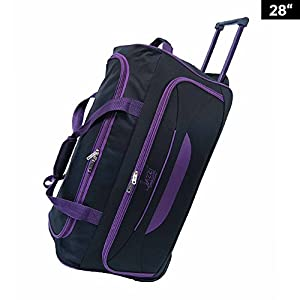 "Light Weight Wheeled Holdall Trolley Suitcase Luggage Travel Holiday Bag 24"" 28"" 32"" (28 inch, Black - Purple)"