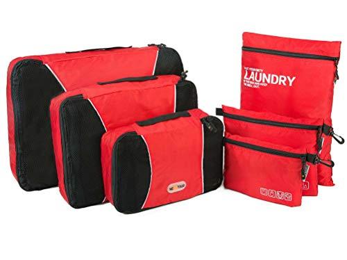 NEXTOUR Wasserdichte Packwürfel Kleidertaschen Koffer organizer mit Wäschebeutel, Handgepäck und Seesäcke Kleidertaschen-Set 6 Stück