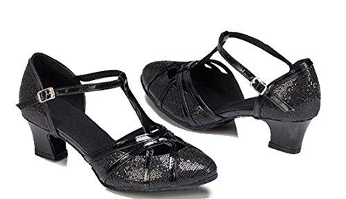 F&M Fashion ,  Damen Durchgängies Plateau Sandalen mit Keilabsatz 5cm Glitter Black