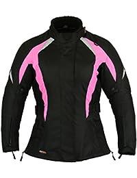 Choque Rosa Mujer Motocicleta Protección Chaqueta Impermeable - Rosa, XL