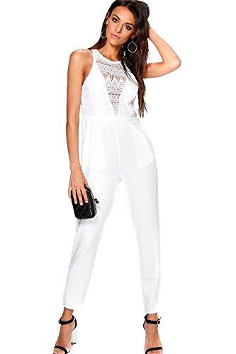 Blanc Femme Boutique Mia Crochet Detail Jumpsuit Blanc