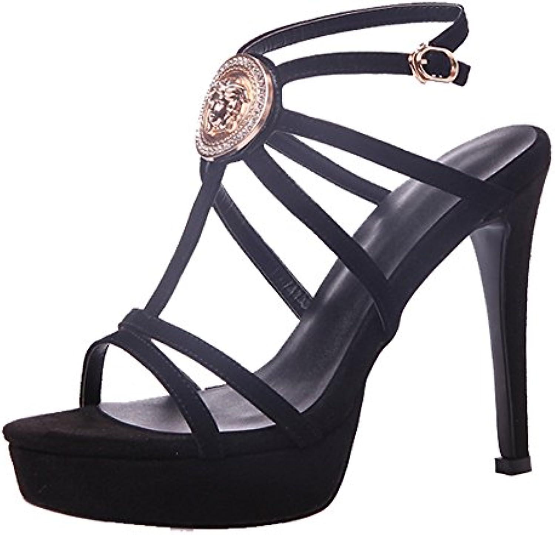 FEIFEI Sandalias de verano de las mujeres de los altos talones sandalias cruzadas de la plataforma impermeable...