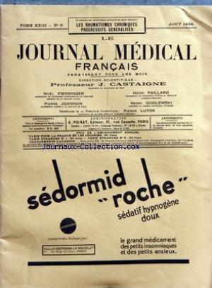 JOURNAL MEDICAL FRANCAIS (LE) [No 8] du 01/08/1934