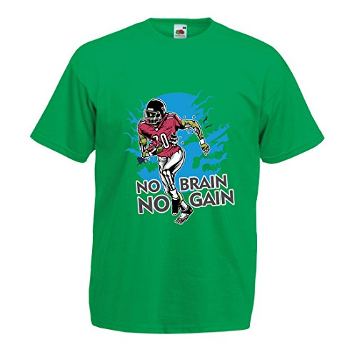 lepni.me Männer T-Shirt Kein Gehirn, Kein Gewinn! Zombie Football Player - Inspirierende Fußball Zitate (Large Grün Mehrfarben) (Humor Medizinische T-shirt)