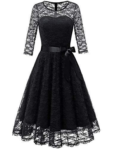 Gardenwed Damen 1950er Vintage Rockabilly Langarm Spitzen Kleid Schwingen  Partykleid Cocktailkleid Abendkleider Black XL ede8fed8b1