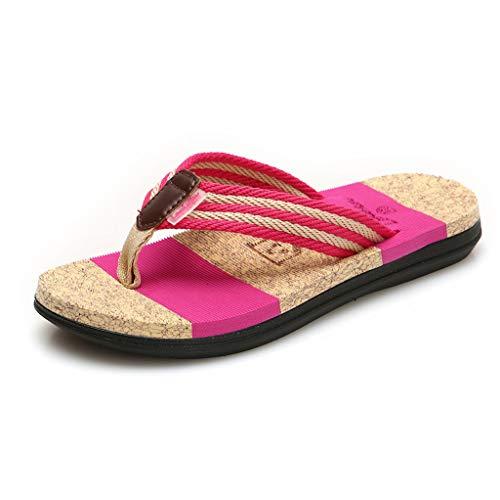Zehentrenner Herren Damen,ABsoar Freizeitschuhe Mode Hausschuhe Casual Sommerschuhe Flache Flip Flops Männer Hausschuhe Strand Gestreiften Schuhe für Paare (Hot Pink, 38)