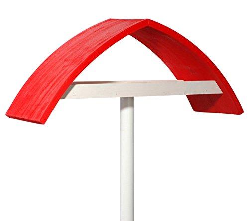 """Luxus-Vogelhaus 31022e Design-Vogelfutterhaus """"New Wave"""" in weiß mit rotem Dach inklusive Ständer (Gesamthöhe circa 183 cm)"""