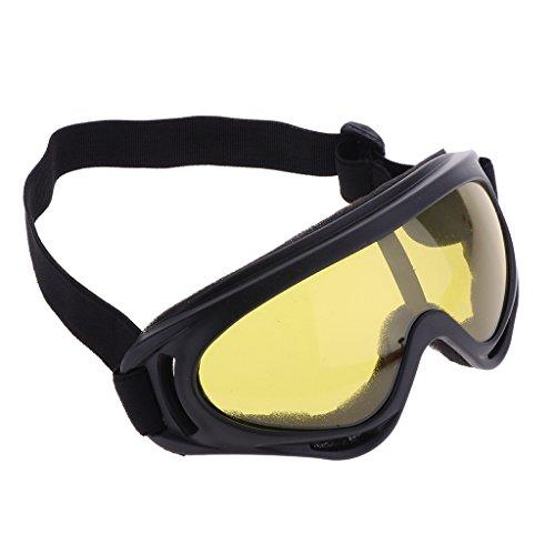 MagiDeal Anti-Fog Skibrille mit Brillenträger Snowboardbrille UV-Schutz Goggle Verspiegelt Winter Sportbrille für Herren Damen Kinder - Gelbe Linse