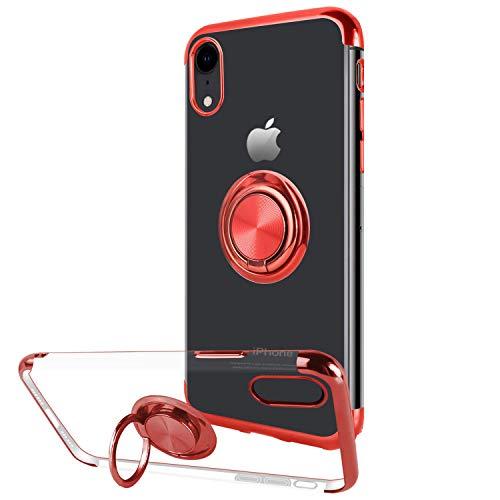 Hülle kompatibel mit Apple iPhone X , Transparent Überzug TPU Bumper Cover Hülle mit 360 Grad Ring Halterung Kickstand Case Magnetic Car Mount Schutzhülle für iPhone XS MAX (4, Apple iPhone XR)