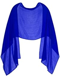 ROYAL BLUE CHIFFON Wrap Stole Ideal for Evening Wear , Wedding , Parties , Bridesmaid , Bridal Wear or Bride or Prom proms (200cm *75cm,)