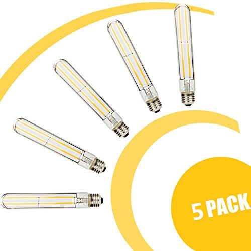 leadleds LED Edison-Glühbirne Entspricht 60W (5er Pack), nicht-dimmbar E27Medium Boden Retro langen LED Filament T30Stahlrohr 2700K Neat Warm Weiß -