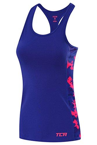 TCA Graphic Printed Damen Tanktop/Sporttop mit Racerback - Blau-Pink Camouflage, M