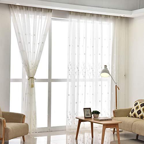 Unbekannt WL Weiße Stickerei Voile Vorhänge,livingroom Semi Schiere Tüll Vorhang 2-Panel Semi Aussetzzeit Vorhang Mit Haken-weiß 400x270cm(157x106inch)*2 -