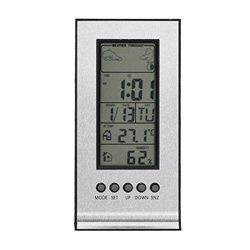 LCD Digital Hygrometer Luftfeuchtigkeit Innen Thermometer Monitor, kabellos Wetter Station, Digitaler Kalender Tag Uhr, Digital Barometer